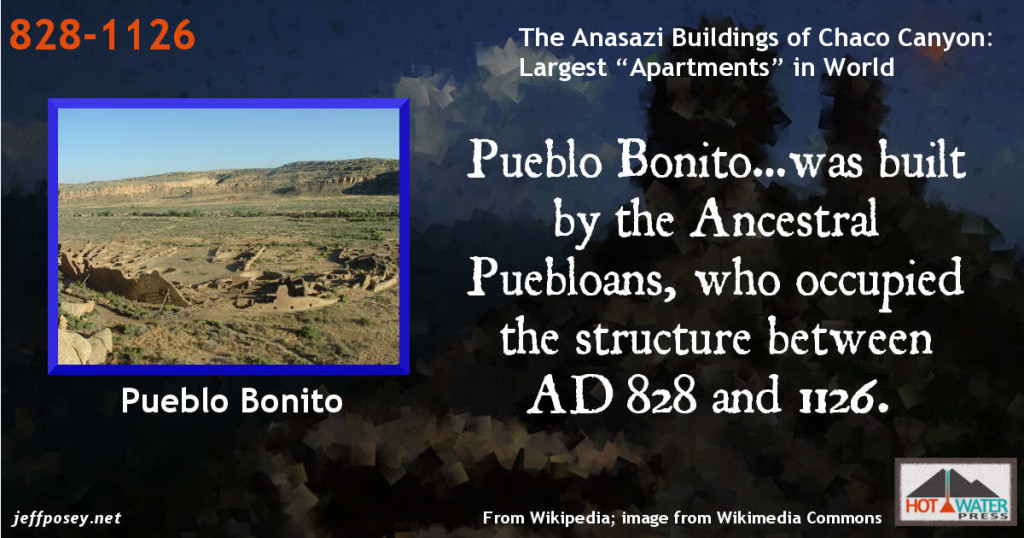 "Anasazi Timeline. Pueblo Bonito…was built by the Ancestral Puebloans, who occupied the structure between AD 828 and 1126. From Wikipedia. Image ""Pueblo Bonito Aerial Chaco Canyon"". Licensed under CC BY-SA 2.5 via Wikimedia Commons - http://commons.wikimedia.org/wiki/File:Pueblo_Bonito_Aerial_Chaco_Canyon.jpg#/media/File:Pueblo_Bonito_Aerial_Chaco_Canyon.jpg\"