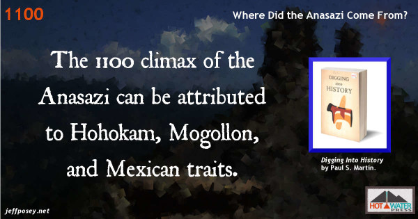 The Anasazi were influenced most by neighboring Hohokam, Mogollon, and Mexican cultures. From Digging Into History, by Paul S. Martin