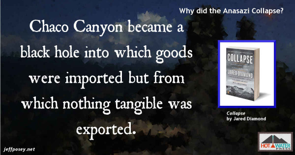 Chaco Canyon elites consumed an enormous amount, but produced very little, from Collapse: How Societies Choose to Fail or Succeed, by Jared Diamond