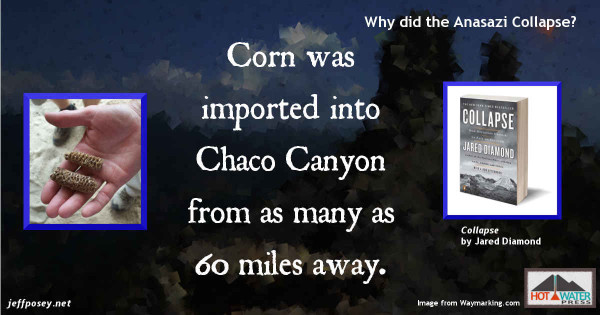 Chaco Canyon couldn't grow enough food to support itself, from Collapse: How Societies Choose to Fail or Succeed, by Jared Diamond