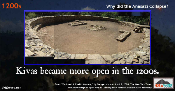 """Kivas, and perhaps religion, became more open to everyone in the 1200s, from """"Vanished: A Pueblo Mystery,"""" by George Johnson, April 8, 2008, The New York Times"""